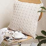 Baumwolle Kabel Stricken Kissenbezug Sofa Bett Home dekorativer Überwurf-Kissenbezug 45x 45cm beige