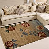 Teppich Blumen-Wohnzimmer-Schlafzimmer-Jute-Unterseiten-waschbarer Teppich 133 * 190cm