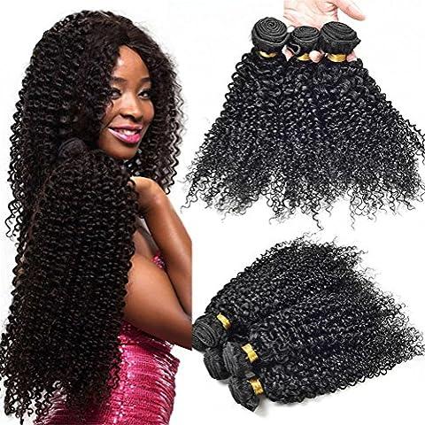 XYLUCKY 100% brasilianisches Haar 3 bündelt Kinky lockiges Haar 6A Jungfrau brasilianische Menschenhaar-Verlängerung Unverarbeitete natürliche schwarze Farbe für Frauen , 26 28 30