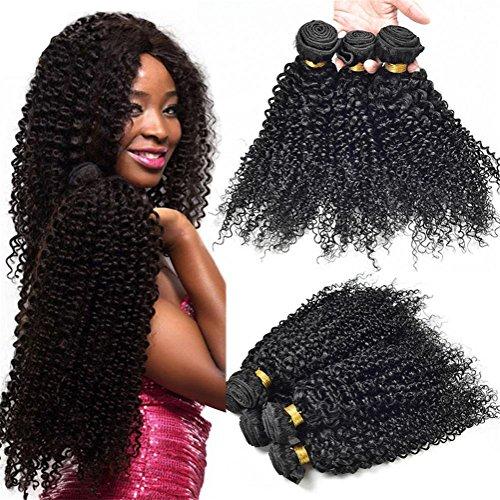 anisches Haar 3 bündelt Kinky lockiges Haar 6A Jungfrau brasilianische Menschenhaar-Verlängerung Unverarbeitete natürliche schwarze Farbe für Frauen , 26 28 30 (Halloween-färbung Tischsets)