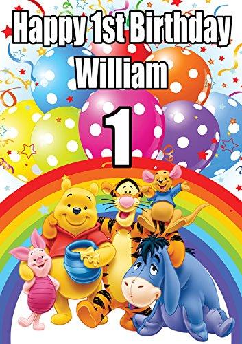 isierbares Geburtstagsspruchband Winnie The Pooh V2, Din A0, 1189 x 841 mm, jedes Alter Plus Text Kann hinzugefügt Werden ()