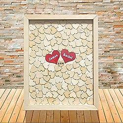 Libro de firmas para boda con diseño retro de corazones y caja de madera
