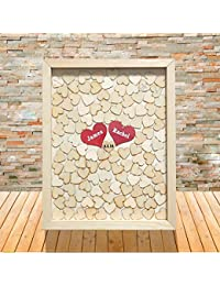 Regalos únicos de boda libro de invitados para boda caja de madera corazón gota marco personalizado Novia y novio nombre con fecha para novia ducha