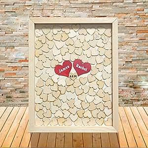 livre d 39 or de mariage vintage en bois c ur cadre mariage livre d 39 or personnalis pour mariage et. Black Bedroom Furniture Sets. Home Design Ideas