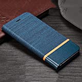 Trounce™ Denim Cloth + Leather Flip Wallet Case Stand Cover with Card Holder (Blue) for Redmi 3S