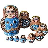 YAKELUS, marca profesional de Matrioska, Muñecas Rusas Matrioska 10 piece Madera Matrioska de Rusia