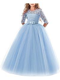 BESBOMIG Cordón Boda Vestido de Princesa Mangas Piano El Rendimiento Escolar Disfraces Vestidos para Niñas de