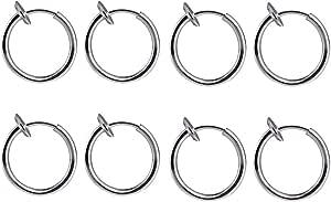 BODYA 4 Coppie! 8 di Fermaglio in Acciaio Chirurgico su Cerchi Senza Piercing Cerchi Anelli dell'orecchio con Becco a Naso Finto (13 mm (1/2 Pollici)) Kit di Gioielli Piercing
