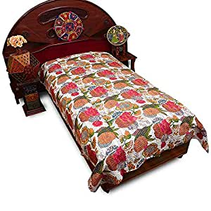 Little India Kantha Embroidery Thread Work Cotton Single Bed Cover - Multicolor  (DLI3SBS505)