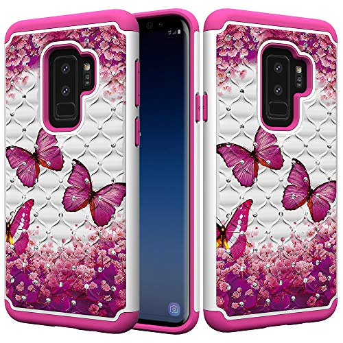 xifanzi Galaxy S9 Plus Handyhülle Rugged Armor 2 in 1 360 Grad Hülle Glitter Diamant Hardcase Strass Bling PC Harte Schutzhülle TPU Hybrid Case Back Cover Samsung Galaxy S9 Plus Roter Schmetterling Strass Bling Back Case