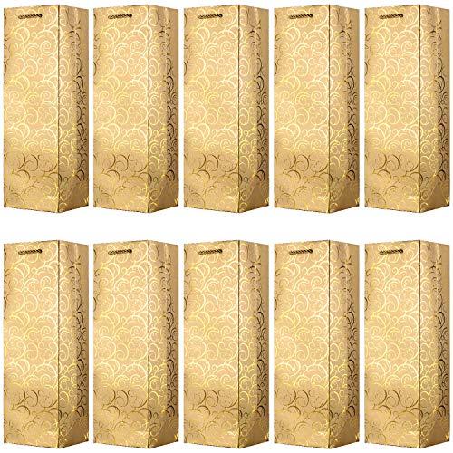 VABNEER 10 Pack Pochette Cadeau Bouteille vin Emballage Cadeau Bouteille Champagne pour Anniversaire et Festival - 4.7 x3.93 x 14 Pouces (Or)