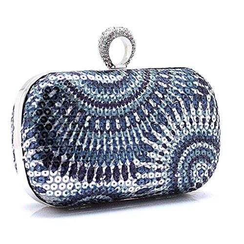 KAXIDY Damentasche Tasche Unterarmtasche Handtasche Abendtasche Brauttasche Handtasche mit Strass für Party Hochzeit Silber+Grau