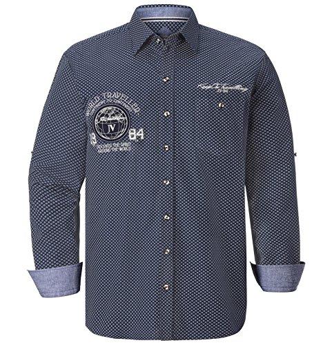 JAN VANDERSTORM Herren Hemd HEINAR in Übergröße Große Größen Plus Size Big Size XL XXL XXXL 4XL 5XL 6XL 7XL 8XL 9XL 10XL Blau