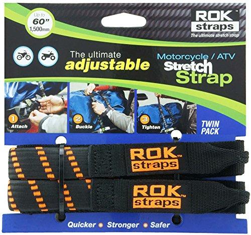 "ROK Straps rok-10031Negro/Naranja 18""-60"" Motocicleta/ATV Ajustable Stretch Correa"