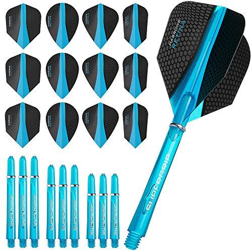 HARROWS Retina Combo Kit–Dart Flights und Schäfte Combo Kit–Blau–Inklusive Darts Ecke gebogen Kugelschreiber