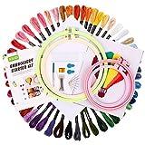 SOLEDI Stickgarn Starter Kit Embroidery Floss Kreuzstich Tool Kit - 4 Stück ABS-Stickrahmen, 50 Farbe, Sechs Fädechen Stickerei, 2 Stück Klassiker Aida-Stoff mit Muster und Kreuzstich-Werkzeugsatz