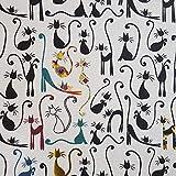 Staab's Beschichtete Baumwolle Katzen (Meterware, Qualität Zum Nähen), (50 x 140 cm)