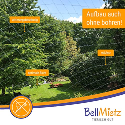 BellMietz Katzennetz für Balkon und Fenster | Extragroßes 8x3m Katzen-Schutznetz | Inkl. 25m Befestigungsseil | Balkonnetz mit Gratis Ebook - 4