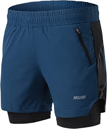 ARSUXEO Men's 2 in 1 Active Running Shorts with 2 Zipper Pockets B191