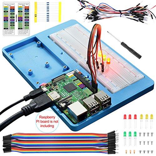 14 en 1 Placa de Pruebas con Soporte RAB para Arduino Uno R3, Mega 2560 y Raspberry Pi 3 2 1 Model B+ RPI Zero W y Zero, Viene con Placa de Pruebas de 830 puntos ,Cable Hembra a Macho DuPont, Cables de Puente, LED, Resistencias (UA032) UNIROI