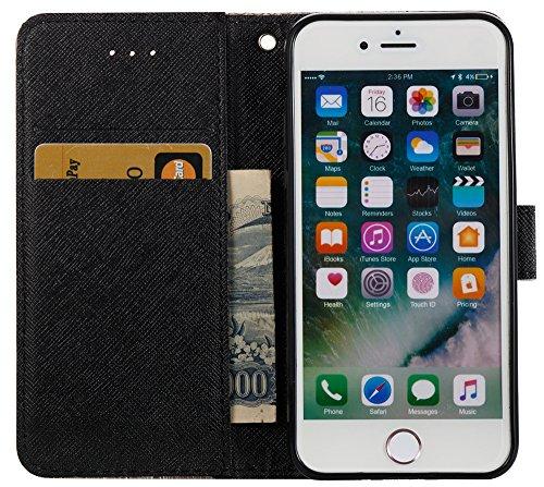 [Coque Iphone 7 silicone] Nnopbeclik Mode Folio Wallet/Portefeuille en Bonne Qualité PU Cuir Housse pour Iphone 7 Coque silicone (4.7 Pouce) élégant Style de Impression Couleur + Bande de Poignet Inté milk