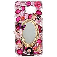 Evtech (tm)-motivo floreale con farfalle a specchio, dorata, con perline a forma di fiore con strass in cristallo, rigida, trasparente-Custodia per Samsung Galaxy, Samsung Galaxy Plus S6 Edge S6 Edge, 100% realizzato a mano)