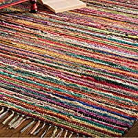 Indian Arts FAIR TRADE RAG RUG HAND LOOM INDIAN 100% RECYCLED COTTON MULTI COLOUR from Indian Arts