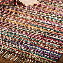 Alfombra de retales de colores confeccionada a mano en telar indio, 100% algodón reciclado, tela, multicolor, 60 x 90cm