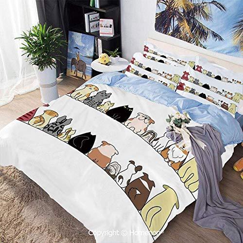 3-teiliges Bettwäscheset Bettwäscheset, Katzen und Hunde Collie Calico Labrador Schottisch Kurzhaar Tabby Shih Tzu Haustierliebhaber Kunstdruck Dekorativ, für Schlafzimmer Gästezimmer, Bettwäscheset -