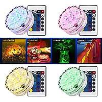 Luces sumergibles con LED Luz de jarrón con control remoto, RGB Luces multicolores con batería de 10 LED a prueba de agua (4 Sets)