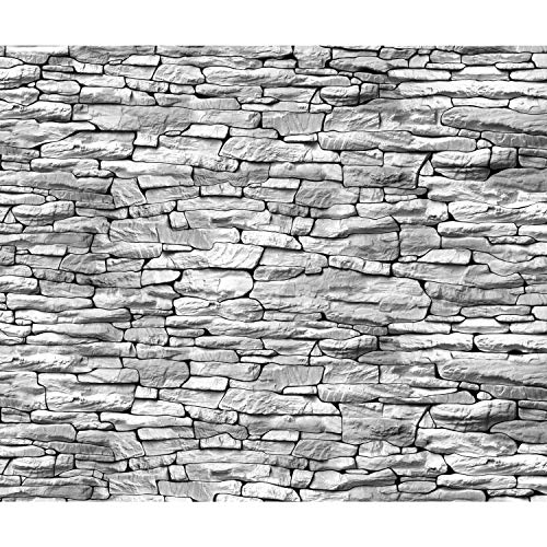 decomonkey Fototapete Steinwand Ziegel 350x256 cm XL Tapete Wandbild Wandbild Bild Fototapeten Tapeten Wandtapete Wandtapeten Steinoptik Ziegelstein Mauer grau - Ziegel Grau Tapete