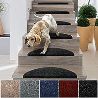 casa pura Stair Tread Mats Leipzig, Graphite, 15 Piece Set (23 x 65 cm) - Multiple Colours | Durable, Non-slip, Protection