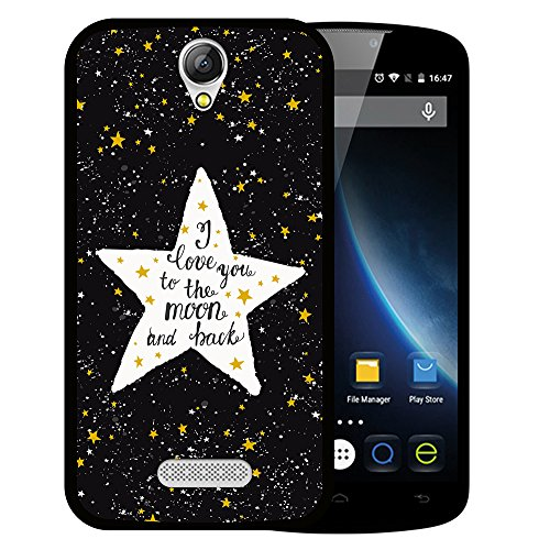 WoowCase Doogee X6 - X6 Pro Hülle, Handyhülle Silikon für [ Doogee X6 - X6 Pro ] Star Satz - I Love You to The Moon and Back Handytasche Handy Cover Case Schutzhülle Flexible TPU - Schwarz