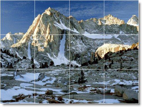 MOUNTAIN CUADRO TILE MURAL M137  12 75 X 43 18 CM CON (12) 4 25 X 4 25 AZULEJOS DE CERAMICA