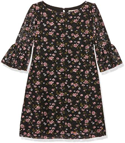Yumi Floral Printed Lace Funnel Sleeve, Vestito Bambina, Nero, 13-14 Anni