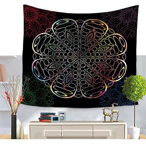 Psychedelische Mehrfarbige Geometrische Mandala Blumen Wandteppiche Hippie Mandala Böhmische Tapisserie Verwickelte Blumenmuster Magische Denkende Indische Traditionelle Bettdecke