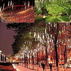 10 Tubos 600 LED lluvia de Meteoritos Luz Decoración Boda (Luz Blanca)