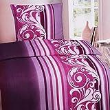 2-tlg. Biber-Bettwäsche Garnitur 100% Baumwolle in Standardgröße mit Reißverschluß in Brombeere mit Längsstreifen und Ranken