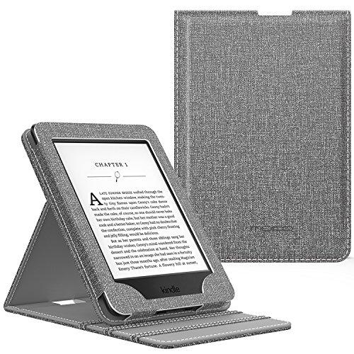 MoKo Kindle Paperwhite Hülle - Vertikal Flip Kunstleder Schutzhülle mit Auto Wake/Sleep für Amazon All-New Kindle Paperwhite (alle Versionen für 2012, 2013, 2015 und 2016), Denim Grau