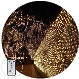 LED Lichternetz 3X2M 200LED Außen Lichterkette Weihnachten Deko 8 Modi für Außen Innen Party Baum Garten Terrasse Hochzeit Deko,Vernetzbar (Warmweiß)