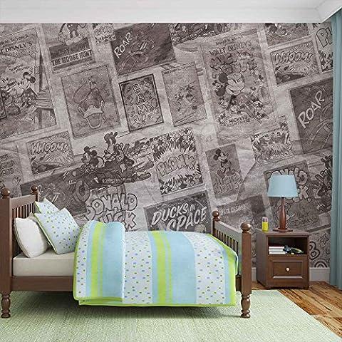 Disney Mickey Mouse Vintage - Forwall - Fototapete - Tapete - Fotomural - Mural Wandbild - (2887WM) - XXL - 368cm x 254cm - Papier (KEIN VLIES) - 4 Pieces