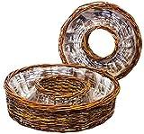 """Pflanzkorb als Ring """" Pflanzringset """" Pflanzgefäß Set 2-teilig, rund aus brauner Weide, Größe 30 cm und 38 cm"""