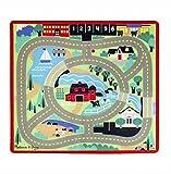 woodienchen - Melissa & Doug- Spielteppich Krabbelmatte mit Holzautos- Motiv Landschaft Autobahn Straßen Seen, 100x91cm, Mehrfarbig