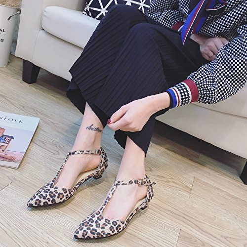 WYMBS femmes chaussures plates occasionnels chaussures de travail confortables talons plats leopard print