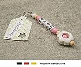 NAMENSANHÄNGER – Anhänger mit Namen | Baby Kinder Schlüsselanhänger für Wickeltasche, Kindergartentasche, Schultasche oder Rucksack mit Schlüsselring | Mädchen Motiv Blume in weiß