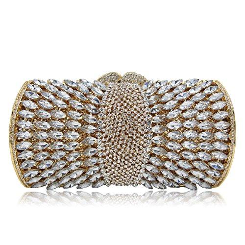 Flada Women es Hollow Metal Strass Kupplungen Portemonnaies für Damen Kristall Schultertaschen rot Gold 2
