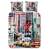 Good Morning Baumwollbettwäsche, Bettwäsche City New York Skyline 135 x 200 cm