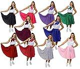 ILOVEFANCYDRESS Polka DOT Rock n ROLL KOSTÜM VERKLEIDUNG Fasching Karneval Gruppen TANZVERANSTALLTUNGEN AUFFÜHRUNGEN-10 Farben+2 GRÖSSEN=UNGEFÄHR 66cm LANG=BLAU WEIßE Punkte/Plus Size