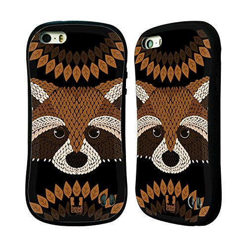 Head Case Designs Raccoon Animal Leaf Mosaic Hybrid Case for Apple iPhone 5 / 5s / SE
