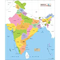 "New India Political Wall Map - Printed on Vinyl (27.5"" W x 32.6"" H)"